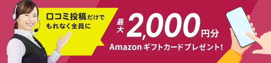 口コミを投稿してくださった全ての方へ 最大2,000円分のギフトカードをプレゼント!
